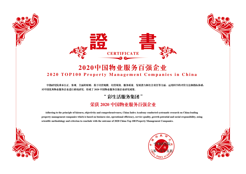 2020中国物业服务百强企业